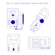 Icons of electrical measuring instruments. Vector illustration Stock Illustration