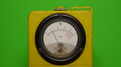 green screen - Geiger Counter front view with moving needle - stock footage