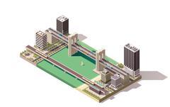 Vector isometric city map - stock illustration