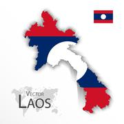 Laos ( People 's Democratic Republic of Laos ) ( map and flag ) ( transportat - stock illustration