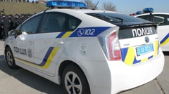 New National Police of Ukraine - patrol cars Toyota Prius Stock Footage