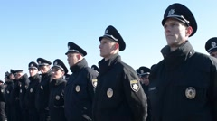 New National Police of Ukraine - patrol take oath Stock Footage