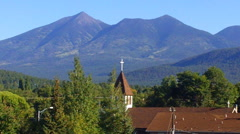 Church Steeple With Mountains Behind- Flagstaff AZ Stock Footage