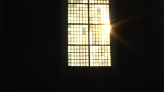 Church window holy sun light Stock Footage