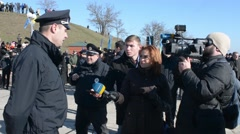 New National Police of Ukraine - a patrol giving an interview to a journalist - stock footage