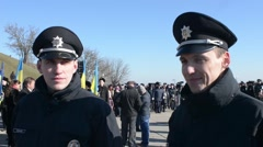 New National Police of Ukraine - patrol smiling affably Stock Footage