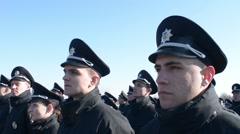 New National Police of Ukraine - patrol take oath - stock footage