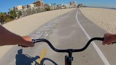 POV Bike Riding The Long Beach Bike Path Stock Footage