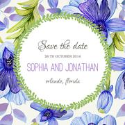 Stock Illustration of Wedding invitation watercolor with flowers