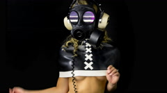 4k gasmask erotic sexy gogo dancer gothic kinky - stock footage