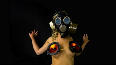 4k gasmask erotic sexy gogo dancer gothic kinky Stock Footage