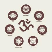 Chakra icon set elements and om calligraphy - stock illustration