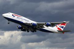 British Airways airplane Boeing 747-400 London Heathrow airport - stock photo