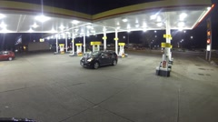 Time lapse Footage - Gas Station - Night - Winter - HD - stock footage