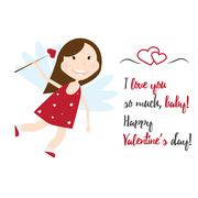 Valentine Day cupid angel cartoon style vector illustration Stock Illustration