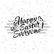 Happy Easter Everyone hand drawn lettering - stock illustration