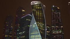 Moscow International Business Center - Moskva-City at winter night Stock Footage