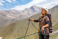 Portrait of female rock climber Stock Photos