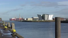 Belfast Titanic Museum River Lagan Oil Rigs Stock Footage