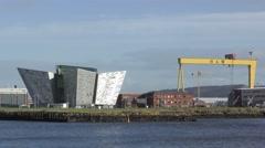 Belfast Titanic yellow shipbuilding gantry crane Stock Footage