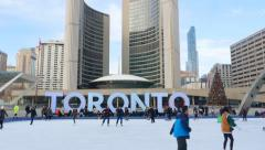Ice skating at City Hall in Toronto, Ontario, Canada. Stock Footage