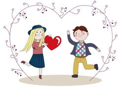 Boy presented to girlfriend red heart - stock illustration