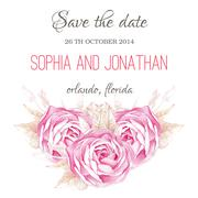 Wedding invitation watercolor with flowers Stock Illustration