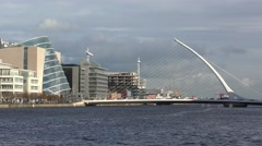 Dublin River Liffey Samuel Beckett Bridge Movement Convention centre Stock Footage