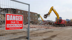 Demolition of Regent Park apartments in Toronto, Canada. Stock Footage