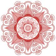 Indian henna tatto flower patter in red - stock illustration