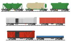 Essential Trains. Collection of freight railway cars. - stock illustration