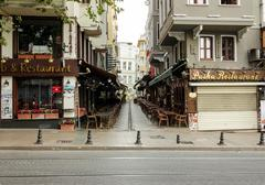 Turkish restaurants on Divan Yolu street Stock Photos