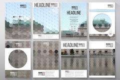 Business templates for brochure, flyer or booklet. Backyard landscape - stock illustration