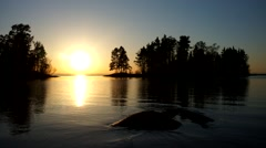 Enjoying the sunset on ladoga lake the. Valaam, Karelia, Russia. Stock Footage