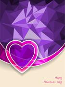 Valentine's day greeting with heart and pink purple background - stock illustration