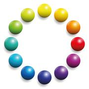 Color Spectrum Twelve Rainbow Balls - stock illustration
