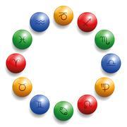 Astrology Radix Symbols Circle Balls Stock Illustration