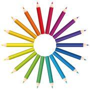 Colored Pencils Color Fan Circle Stock Illustration