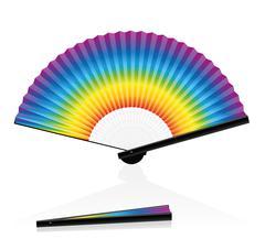 Hand Fan Colorful Rainbow Gradient - stock illustration