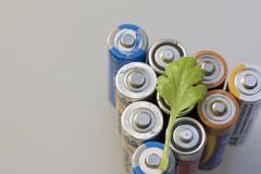 Spent batteries. Processing hazardous waste. environmental protection. The pl - stock photo