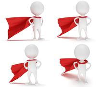 3d man - brave superhero with red cloak set Stock Illustration