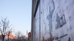 "Rack focus of ""Don't Shoot Tag"" in on wall in Baltimore City, Maryland. Stock Footage"