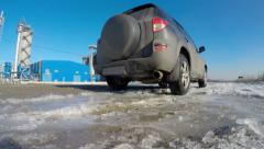 On the ice, the wheels seem to trail off. Stock Footage