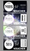 Stock Illustration of Set of modern gift voucher templates. Electric lighting effect. Magic vector