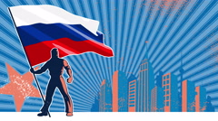 Flag Bearer Russia Background - stock footage