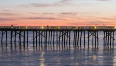 Malibu Pier Sunset Time Lapse with Zoom In Stock Footage