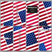 Set of modern flyers. Presidents day background with american flag, abstract Piirros
