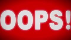 """""""OOPS!"""" sign. Looping. Stock Footage"""