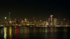 Night timelapse of Chicago from across the water. Stock Footage