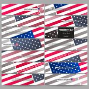 Set of modern banners. Presidents day background with american flag, abstract Stock Illustration